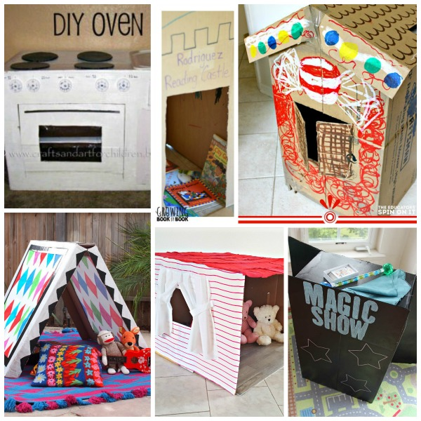 Kid size cardboard houses and props you can make for pretend play