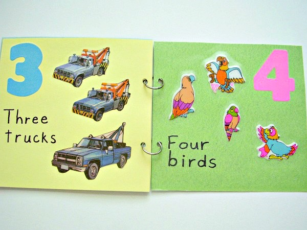 Colorful book pages promote early counting