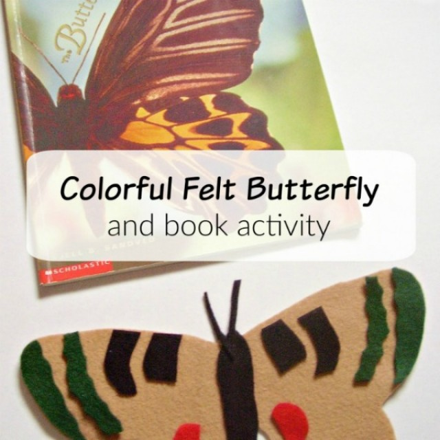 Colorful felt butterfly ABC book activity