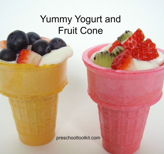 Yogurt and fruit  snack in a cone for kids to make