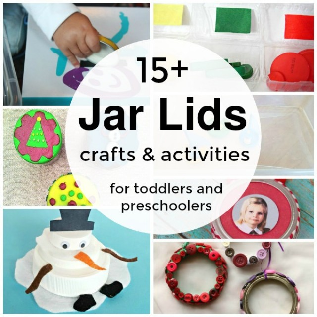 Crafts and activities using recycled jar lids for early learning through hands on play