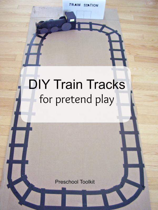 DIY train tracks for pretend play