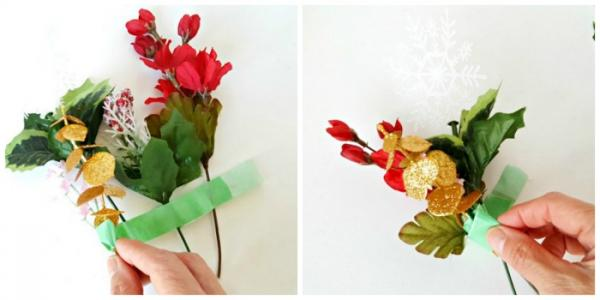 Make a corsage craft with tape and artificial flowers