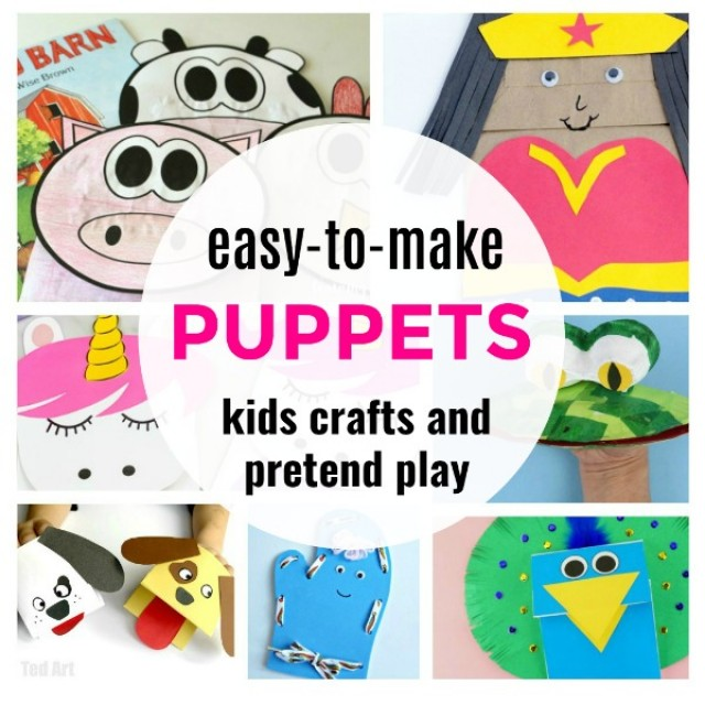 Easy to make puppets for kids crafts and pretend play