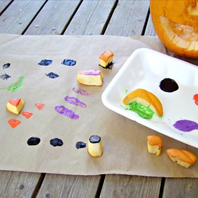 Fall painting with pumpkin stamps
