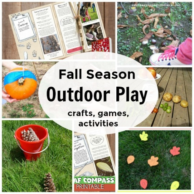 Fall season outdoor play crafts games activities for kids