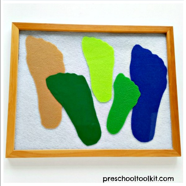 Family keepsake felt footprints craft