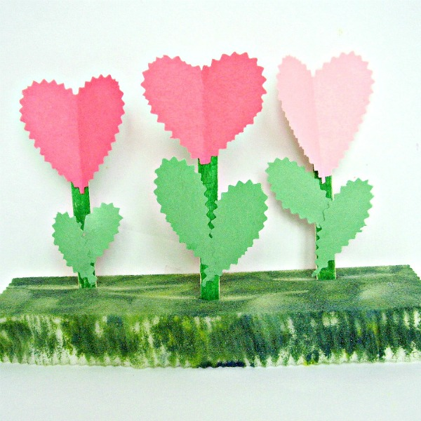 Flower garden Valentines Day craft for kids