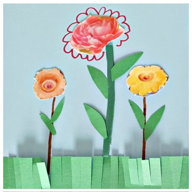 Flower garden paper art with recycled greeting cards