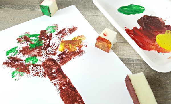 Foam shapes stamps for preschool painting activity