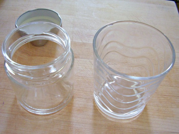 Glass jam jars can be recycled as drinking glasses
