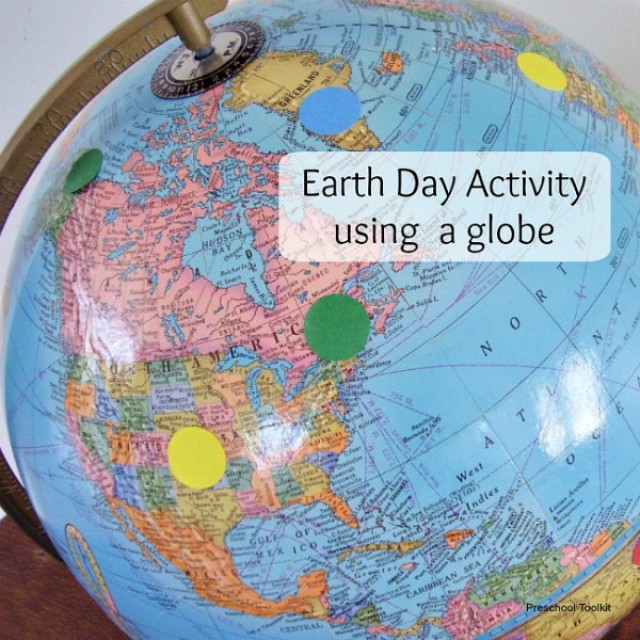 Globe Earth Day activity with modeling clay and stickers