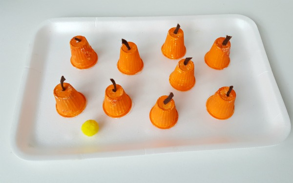 Glue felt stems to the mini pumpkins