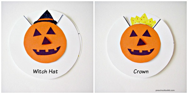 Hats for a jack o lantern paper craft for kids