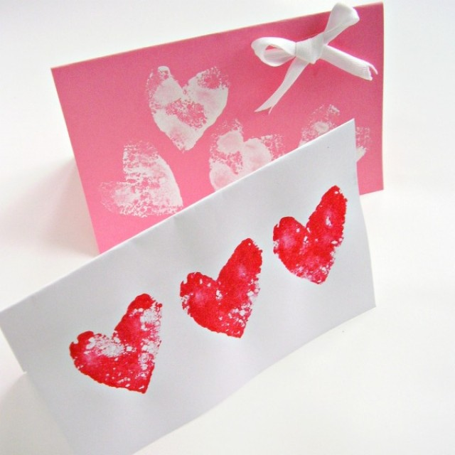 Homemade Valentine cards preschool craft