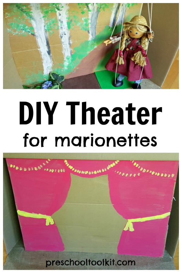 Homemade puppet theater for marionettes