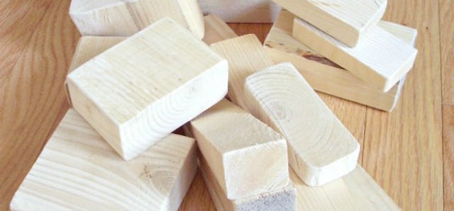 Homemade wooden blocks for kids construction activities
