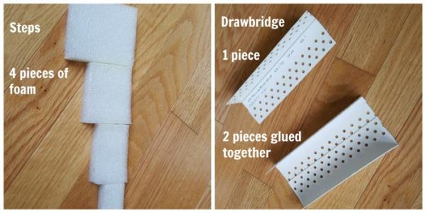 How to make steps and drawbridge for the winter castle kids activity
