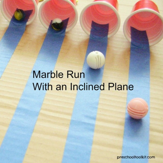 Inclined plane with marble run kids activity