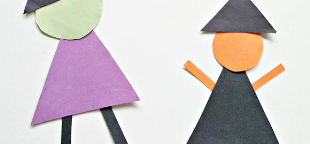 Kids can make a Halloween witch with paper shape cut outs