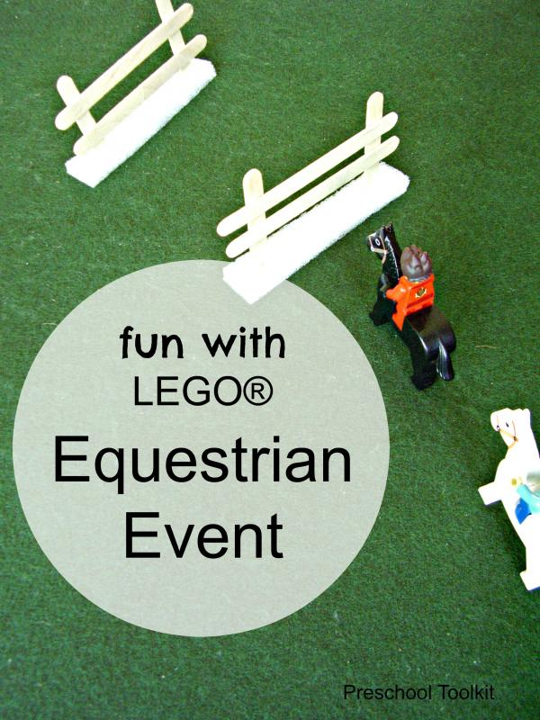 Small world equestrian event with building blocks and miniature horses