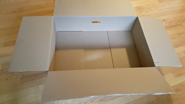 Large cardboard box for theater tutorial