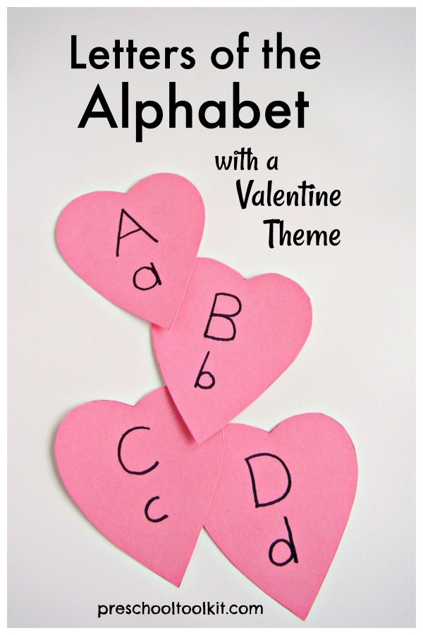 Letters of the alphabet cards with a Valentine Theme