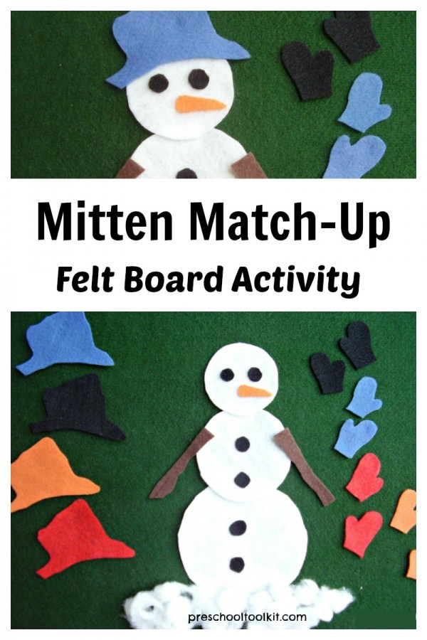Mitten match-up snowman activity on the felt board for preschoolers