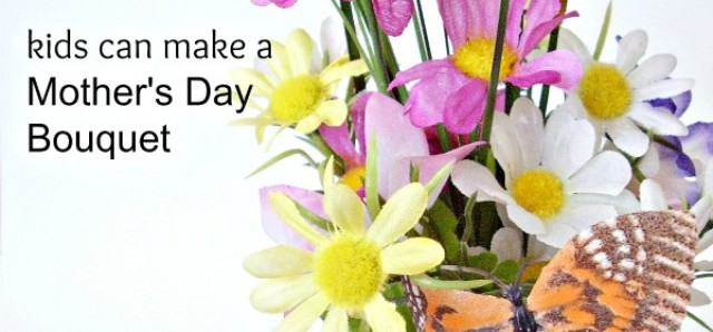 Mothers Day bouquet preschool craft with artificial flowers and stems