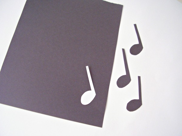 Musical notes cut from construction paper for a preschool activity