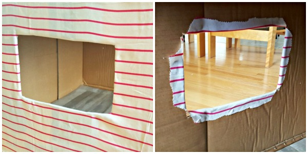 Outside and inside view of window in cardboard box house for kids