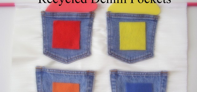 Preschool sorting activity using recycled denim pockets