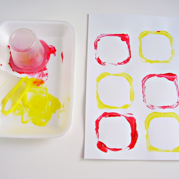 Painting with preschoolers using recyclables