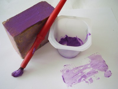 Painting with wood blocks