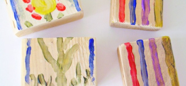 Painting wood blocks to use as a puzzle with preschoolers
