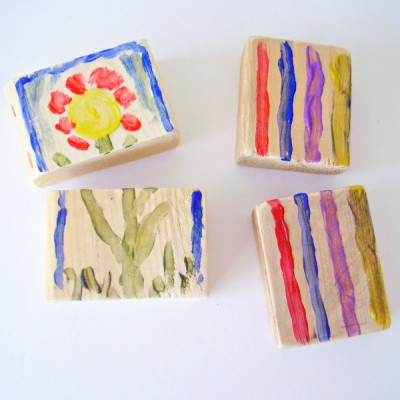 Painting wood blocks