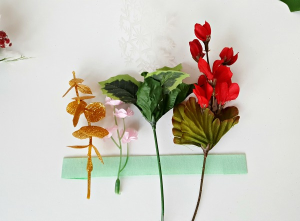 Artificial flowers craft for Christmas