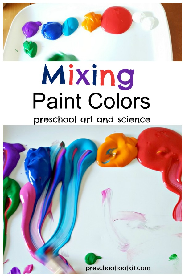 Preschool art and science mixing paint colors activity