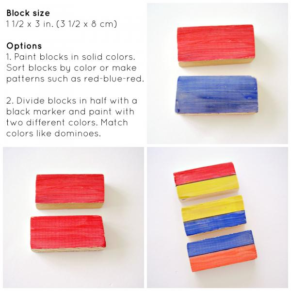 Preschool math activity with painted wood blocks