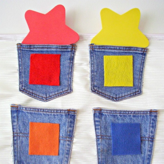 Preschool math counting and sorting with recycled denim pockets