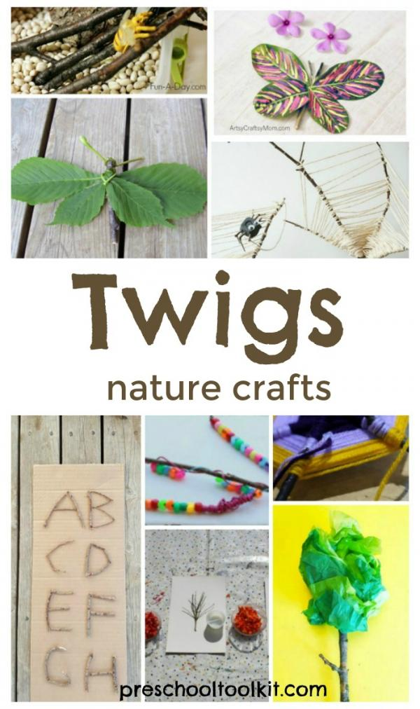 Preschool nature crafts using twigs