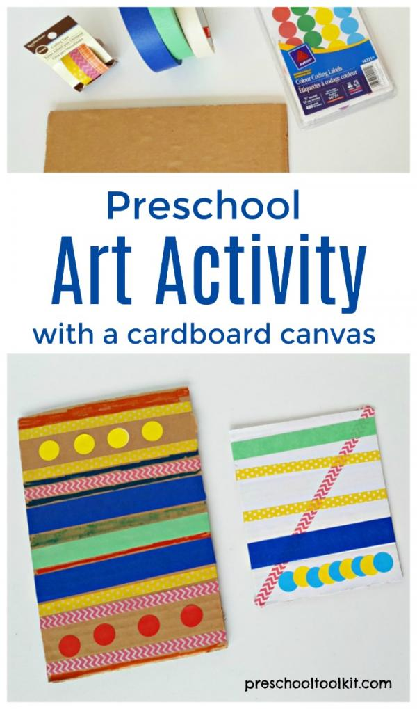 Preschool process art activity using tape and crayons or markers