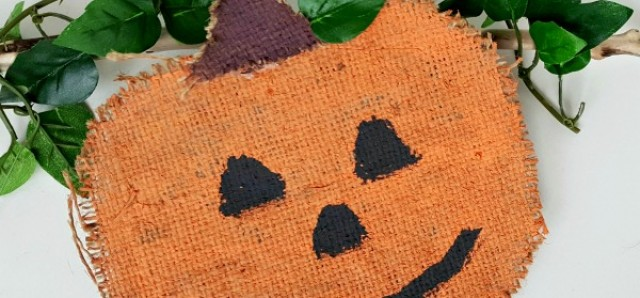 Pumpkin kids craft using burlap and orange paint