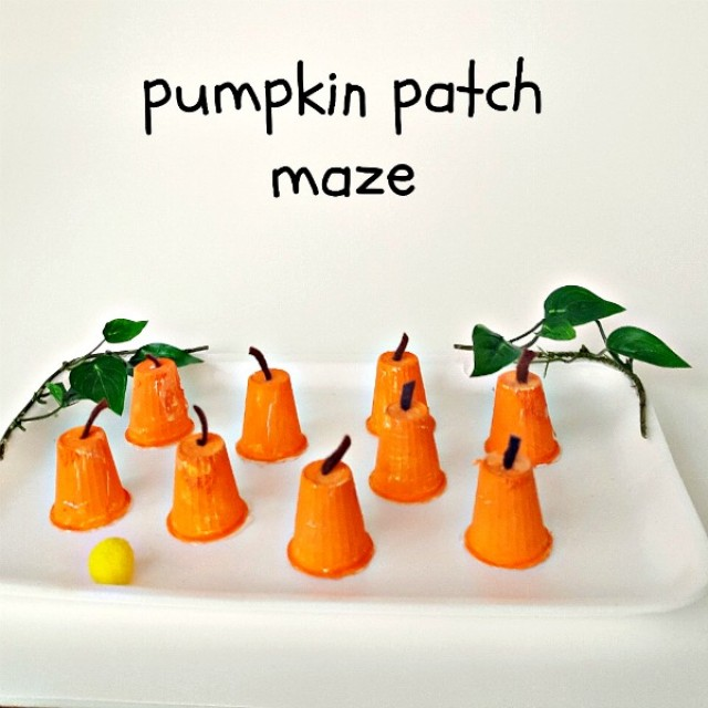 Pumpkin patch maze kids craft made with recyclables
