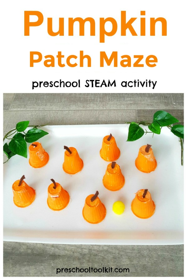 Pumpkin patch maze preschool craft