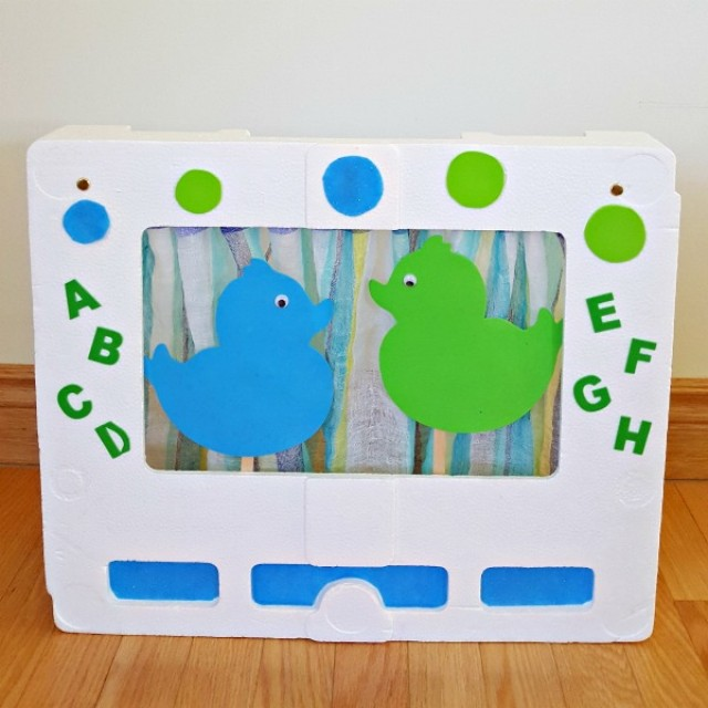Puppet theater from foam packaging for preschool pretend play