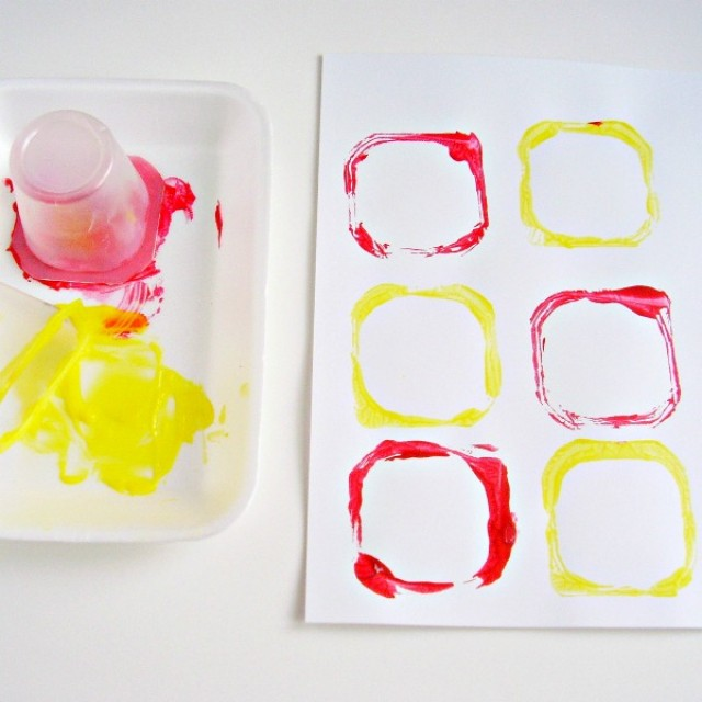 Recycle containers for a preschool painting activity