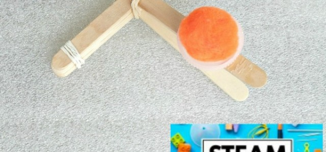 Kids can make a catapult activity from the STEAM KIDS book