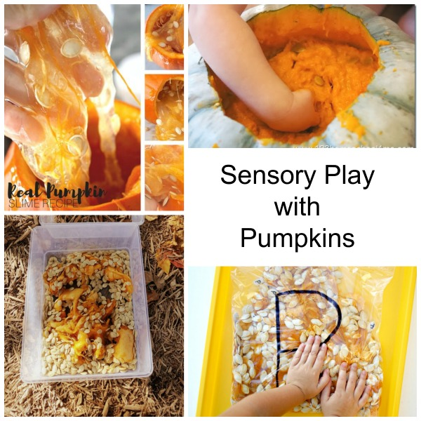 Sensory play with pumpkins