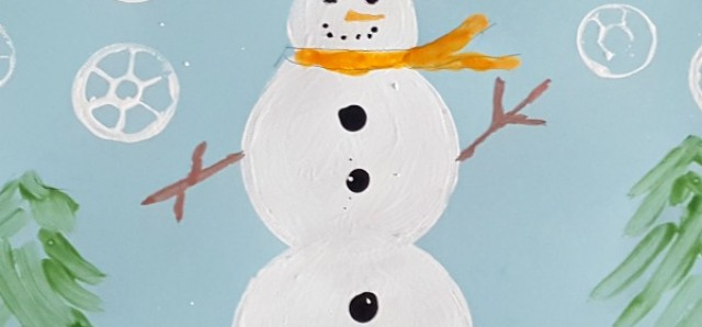 Snowman and snowflakes kids painting activity
